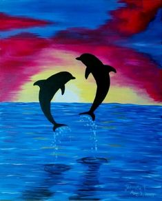Sunrise Drawing Oil Painting Pictures Pictures To Paint Easy Watercolor Watercolor Paintings Silhouette Painting Dolphin Drawing Dolphin Painting Easy Drawings Dolphin Painting, Dolphin Art, Painting & Drawing, Seascape Paintings, Easy Paintings, Silhouette Painting, Mini Canvas Art, Acrylic Painting Canvas, Watercolor Art