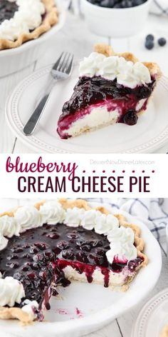 Lemon Cream Cheese Pie, Blueberry Cream Cheese Pie, Cream Cheese Desserts, Cream Cheese Topping, Dessert Simple, Summer Desserts, Easy Desserts, No Bake Cheesecake Filling, Cheesecake Recipes