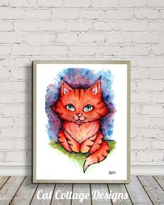 Kitten, Red Tabby Kitten, Kitten Illustration, Cat Watercolor, Nursery Decor, Digital Print, Digital Download, Sweet Cat, Children's Room