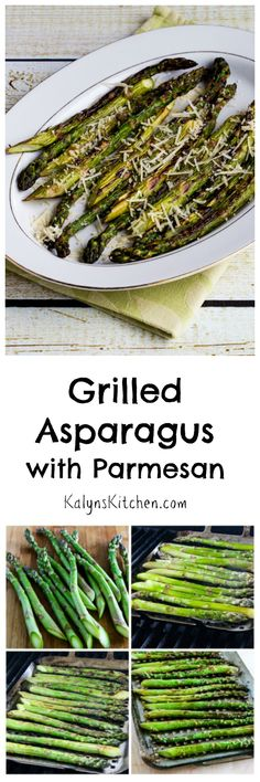 Asparagus is available well into the summer now, and I think this Grilled Asparagus with Parmesan is the perfect side dish for any summer holiday party or just for a family dinner where you want to splurge.  I use a grilling pan for vegetables to make this recipe easy! #LowCarb #GlutenFree [from KalynsKitchen.com]