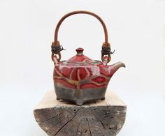 ceramic tea pot red glazed - christmas gift ideas. $112.00, via Etsy.