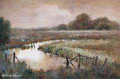 Autumn in the meadowlands  Otlakta sonbahar  Herfst in de weilanden by Mineke Reinders Watercolor & gouache, 14x21 inches Location: Groningen province, the Netherlands 031115