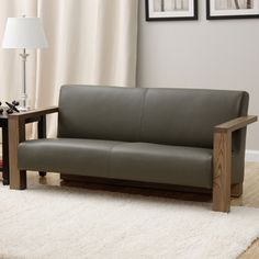 @Overstock - Grey Leather Sofa - Crisp, clean lines define the naturally finished wood frame of this elegant sofa. Supple grey leather upholstery softens the look of this modern furniture, making it the perfect addition to your stylish living room or office.  http://www.overstock.com/Home-Garden/Grey-Leather-Sofa/8585389/product.html?CID=214117 $399.99