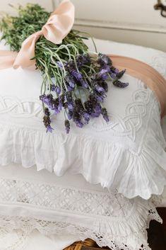 Lavender Cottage, French Lavender, Lavender Fields, Lavender Flowers, Lavender Color, Victoria Magazine, Fru Fru, Simple Bed, Linens And Lace