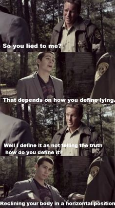 Linden Ashby (Sheriff Stilinski) & Dylan O'Brien (Stiles) - Teen Wolf. Stiles is such a jackass and he makes me laugh.