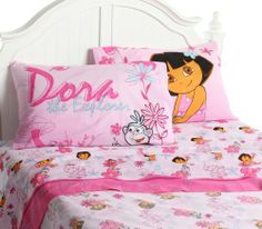 Dora the Explorer Playful Garden Twin Sheet Set by Dora the Explorer. $39.99. Imported. Reversible 20 by 30-inch pillowcase. Machine washable andtumble dry low. Includes 1 flat sheet, 1 fitted sheet and 1 pillowcase. 60-Percent cotton and 40-Percent polyester, machine wash and dry. Let's go exploring with Dora and Boots. Dora and her exploring friend Boots, play happily amid vivid colors of pink, fuchsia, aqua and purple, making Dora bedding a bright addition to any room. B...
