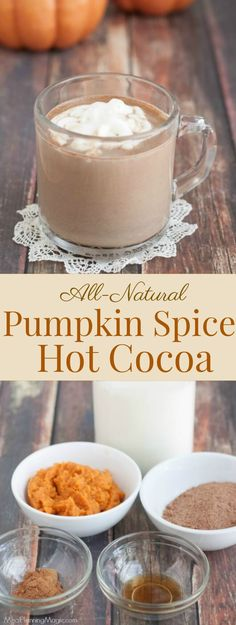 Pumpkin Spice Hot Cocoa is a delicious and easy fall drink recipe. Made with all natural ingredients, rich cocoa is combined with smooth pumpkin flavor to make this a family friendly warm beverage recipe. Chai Recipe, Hot Cocoa Recipe, Cocoa Recipes, Hot Chocolate Recipes, Tea Recipes, Coffee Recipes, Pumpkin Recipes, Fall Recipes, Drink Recipes