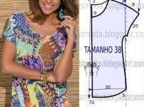 As medidas do molde de vestido godé correspondem ao tamanho 44 na escala Portuguesa e 46 na escala Brasileira. A ilustração do molde não tem valor tem...