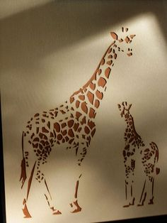 Laser Cut Mom & Baby Giraffe Nursery Art $28