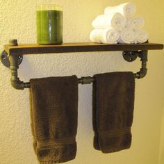 Recycled Metal Projects - bathroom towel rack made from recycled metal pipe Pipe Furniture, Industrial Furniture, Furniture Projects, Cool Furniture, Home Projects, Industrial Pipe, Industrial Bathroom, Metal Projects, Design Furniture