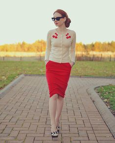 Cherry cardigan, red pencil skirt, retro heels, and what looks like white fishnet? Rockabilly Fashion, Retro Fashion, Vintage Fashion, Womens Fashion, Work Fashion, Modest Fashion, Fashion Outfits, Skirt Fashion, Fashion Beauty