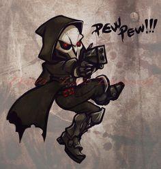 """""""Pew pew!"""" chibi Reaper by vinterhjarta #Overwatch"""