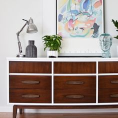 Mid Century 9 Drawer Dresser in Gloss White and Dark Wood