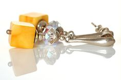 Sparkling Milky & Butter Natural  Dangle Amber by AnnaBujak