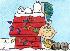 """Atc/aceo #peanuts charlie brown & #snoopy christmas #1 fan art #print 2.5x3.5"""",  View more on the LINK: http://www.zeppy.io/product/gb/2/272524218645/"""