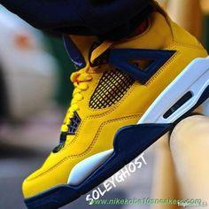 Fast Shipping To Buy yellow/dark blue-grey-white AIR JORDAN 4 314254-702