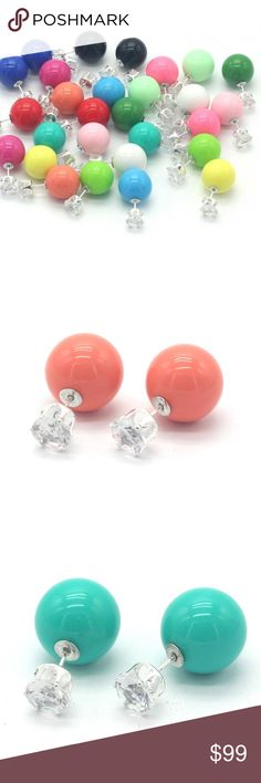 Bubble Earrings Bubble Gum Drops! Fashion Accessories Colors Big Gem Solid Ball Stud Earrings Available in Coral, Sea Green and Pink! Jewelry Earrings