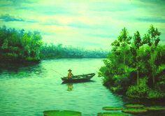 Menino Pescador (2000 ) óleo sobre tela de Jeriel.Dimensões:150 x 100cm.Acervo da Procuradoria Geral do Estado do Amapá.