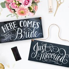 Here Comes The Brides Wedding Sign – Chalkboard Style - The Wedding of My Dreams
