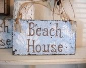 BEACH HOUSE Shabby Cottage Sweet Petite Signs 9 x 5