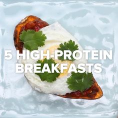 5 High-Protein Breakfasts // - my list of healthy foods High Protein Breakfast, Healthy Breakfast Recipes, Healthy Snacks, Vegetarian Recipes, Healthy Eating, Cooking Recipes, Healthy Recipes, Vegan Meals, Diet Recipes