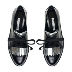 Oscar de la Renta Black & Silver Leather Adelaide Brogues ❤ liked on… Oxfords, Wingtip Shoes, Leather Brogues, Loafer Shoes, Loafers, Silver Shoes, Black Silver, Pencil Shoes, Evening Flats