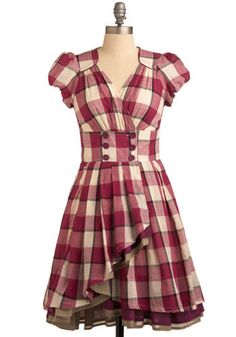 Live Wire Dress - Pink, Tan / Cream, Black, Buttons, Ruffles, Tiered, Casual, Empire, Short Sleeves, Long, Plaid