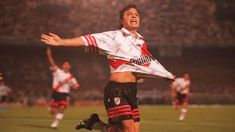 Marcelo Gallardo of River Plate of Buenos Aires in River Phoenix, Nacho Fernandez, Nate River, Napoleon, Canoe, Football, Running, 1990s, Liberty