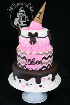 Pink and brown ice cream-themed birthday cake! Ice Cream 1, Ice Cream Theme, Ice Cream Party, Cream Cake, Themed Birthday Cakes, Themed Cakes, 7th Birthday, Pinterest Cake, Cake Wrecks