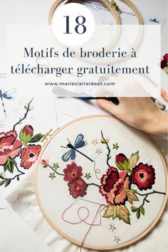 18 motifs de broderie à télécharger gratuitement / dmc embroidery / flower embroidery / contemporary embroidery