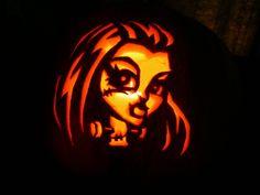 Rapunzel and monster high pumpkins for halloween made for Monster pumpkin carving patterns