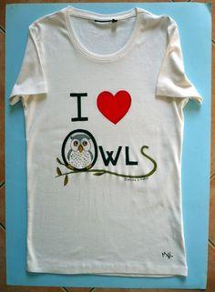maglia cotone donna I love Owls