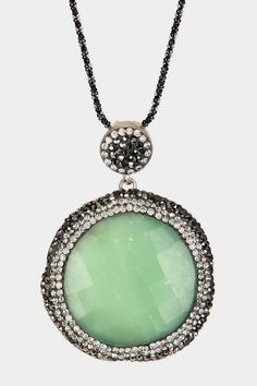Sterling Silver Faceted Agate, Swarovski Crystal & Hematite Stacy Spring Pendant Necklace