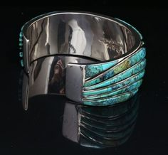 Sterling silver inlaid bracelet with Blue Diamond turquoise - Home & Away Gallery Vintage Turquoise, Turquoise Jewelry, Native American Art, Native American Jewelry, Diamond Mines, Southwestern Jewelry, Ethnic Jewelry, Jewellery, Sterling Silver Jewelry