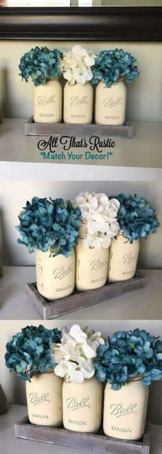 Rustic Mason Jar Decor, Painted Mason Jars, Vintage Home Decor, Teal, Gray, Cream, Rustic Home Decor, Shabby Chic Decor, Blue Decor, Rustic, DIY Home Decor #shabbychicbathroomsvintage