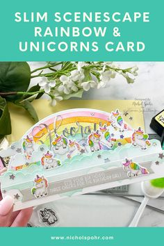 """I am sharing another Slim Scenescape pop up box card featuring the new Mama Elephant Slim Scenescape Builder Dies, Slim Scenescape Rainbow Add On Dies, and Little Unicorn Agenda Set! These images are perfect for adhering with acetate """"picks"""" to appear to be """"floating"""" in the box scene! I just love this technique! It's Your Birthday, Girl Birthday, Tim Holtz Distress Ink, Pop Up Box Cards, Flower Shower, Bone Folder, Mama Elephant, Little Unicorn, Distressed Painting"""