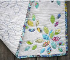 "Stephanie Granite made this ""Little Leaves"" quilt and outline stitched each leaf…"
