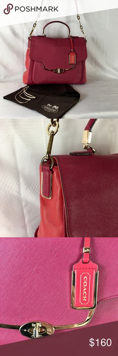 c4a5eaf7be Coach Madison Saffiano Leather Flap Satchel Bag * Coach Saffiano leather in  Pink/Red *
