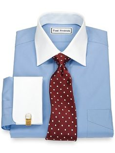 2-ply Cotton White Spread Collar French Cuff Dress Shirt from Paul Fredrick