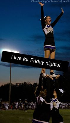 Cheering on those sidelines every Friday night is my passion and a feeling that's amazing. only 1 more year :( Cheer Coaches, Cheer Stunts, Cheer Dance, Cheer Mom, Cheerleading Quotes, Cheer Quotes, High School Cheer, High School Football, Friday Night Football