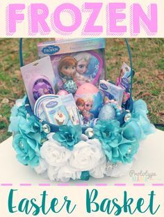 Create this fun and easy FROZEN Easter basket for your little one this season. Filled with Elsa and Anna goodies and treats! #DisneyEaster #ad