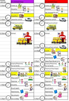 With the new school year starting and me having a first grader and kindergartener this year, I knew we needed to make up a schedule. After School Schedule, Daily Schedule Kids, School Routines, School Hacks, New School Year, Back To School, Infant Activities, Activities For Kids, School Organization