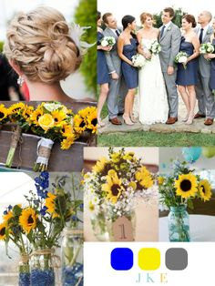 Modern wedding color palettes we love marigold royal blue and royals sunflower themed weddings yellow blue sunflower themed august wedding julia k events junglespirit Choice Image