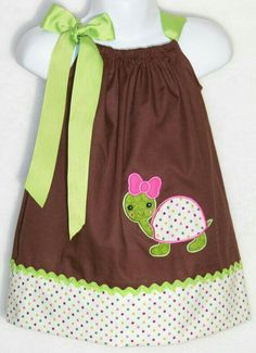 Items similar to Turtle Pillowcase Dress / Green / Brown / Cute / Birthday / Newborn / Infant / Girl / Baby / Toddler / Handmade / Custom Boutique Clothing on Etsy Sewing Kids Clothes, Baby Sewing, Doll Clothes, Little Dresses, Little Girl Dresses, Toddler Dress, Baby Dress, Pillowcase Dress Pattern, Pillowcase Dresses