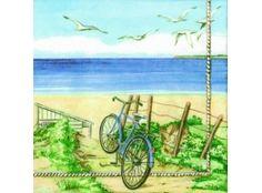 Beach Bicycle Decoupage Napkin