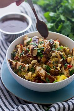 Hawaiian Quinoa Bowls with Cilantro Honey Vinaigrette and Spicy Peanut Sauce - Cooking for Keeps