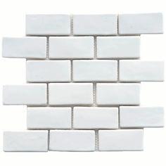Merola Tile Cobble Subway White 12 in. x 12 in. x 13 mm Ceramic Mosaic Tile, White/Handmade Look