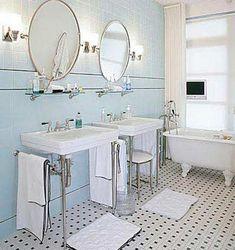 black and white tile floor bathroom