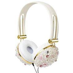 Claires- polyvore pearl headphones luv em