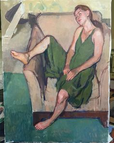 Done. Oil on linen, 48 x 36, 2017 #figurepainting #paintedfromlife #figurestudy #figurativeart #greendress